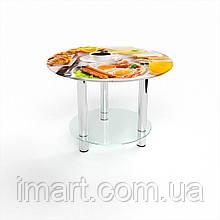 Журнальный стол круглый с полкой Nice breakfas стеклянный