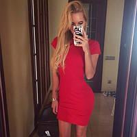 Платье обычное узкое короткое ,короткий рукав, 3 цвета