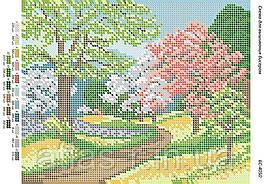 """Схема для полной зашивки бисером """"Дорога в саду"""""""