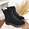 Ботинки женские черные эко-замша :), фото 9