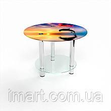 Журнальный стол круглый с полкой Ocean стеклянный