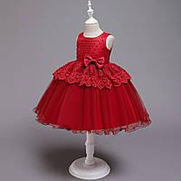 """Нарядное платье для девочки """"Изабель"""" красное"""