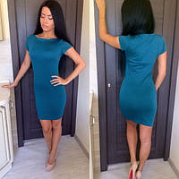 Платье обычное узкое короткое ,короткий рукав, 3 цвета(р42-46)