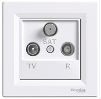 Розетка TV-R-SAT 8 dB проходная белый Asfora, EPH3500321
