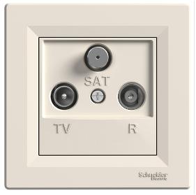 Розетка TV-R-SAT 8 dB проходная кремовая Asfora, EPH3500323