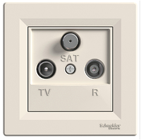 Розетка TV-R-SAT 8 dB проходная кремовая Asfora, EPH3500323, фото 1