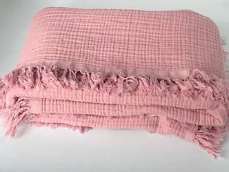 Плед муслиновый (жатка) с бахромой розовый 4-x слойнный 80*100см