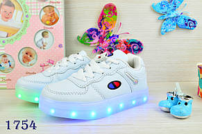 Кроссовки детские  демисезонные черные весна-осень LED  c USB зарядкой 26-28р., фото 3
