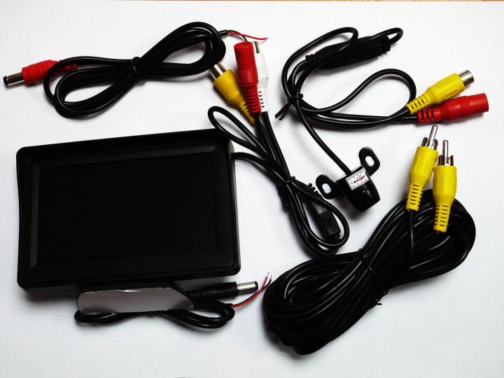 Монитор для камера заднего вида 4,3'' с 2-мя видеовыходами  + камера заднего вида на 4 диода