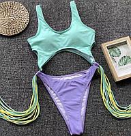 Женский сдельный двухцветный купальник с бахромой