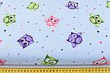 """Отрез ткани """"Совушки и цветной горошек"""", фон - голубой (№769а), размер 55*160, фото 2"""
