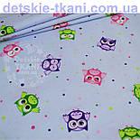 """Отрез ткани """"Совушки и цветной горошек"""", фон - голубой (№769а), размер 55*160, фото 3"""