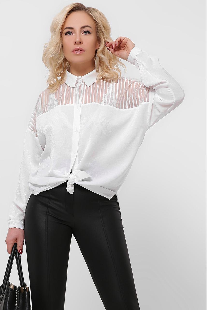 Нарядная белая шелковая блузка
