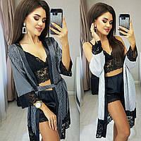 Женский пижамный комплект из халата, кружевного топа и шорт (Норма)