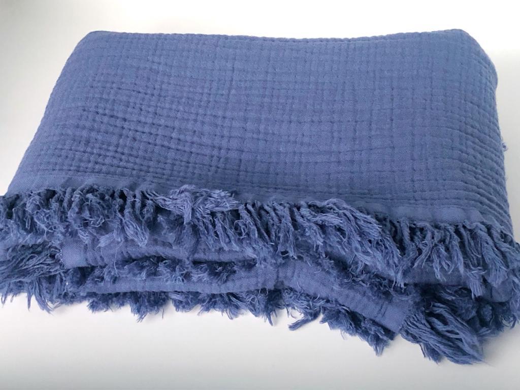 Плед муслиновый (жатка) с бахромой синий 4-x слойнный 80*100см