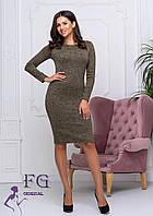 Женское приталенное платье миди из ангоры