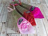 Подарочный цветок Роза из мыла 26см красная, фото 3