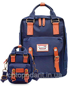 Рюкзак Doughnut синий + сумочка Doughnut в подарок Код 11-0086