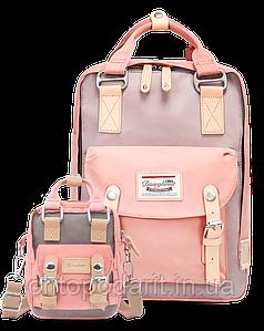 Рюкзак Doughnut розовый + сумочка Doughnut в подарок Код 11-0087