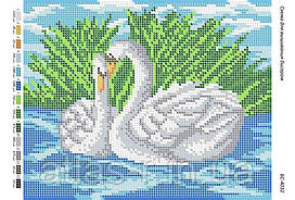 """Схема для полной зашивки бисером """"Лебеди"""""""