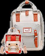 Рюкзак Doughnut Macaroon серый + сумочка Doughnut в подарок