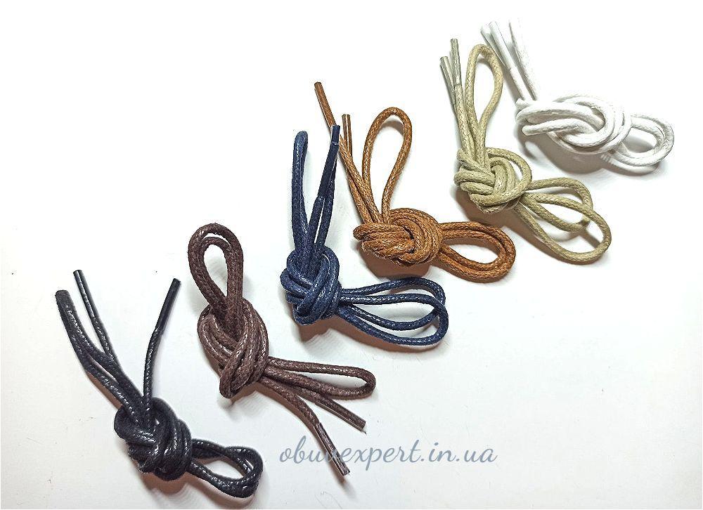 Шнурки обувные вощенные Круглые, d=2 мм, цв. в ассортименте