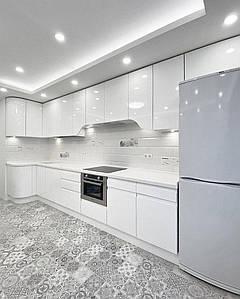 Кухня крашенный МДФ White с пазом