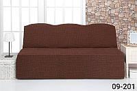 Чехол на диван без подлокотников и оборки, натяжной, жатка-креш, универсальные, Venera