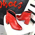 Демисезонные женские ботильоны красного цвета, натуральная кожа, фото 6