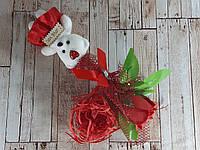 Подарочный набор Мишка и Роза из мыла 28.5см красный