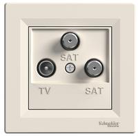 Розетка TV-SAT-SAT 1 dB концевая кремовая Asfora, EPH3600123