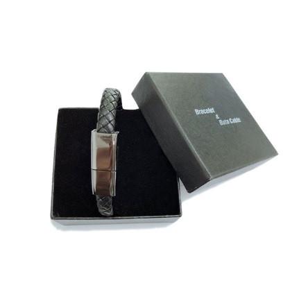Кожаный браслет Micro USB черный 20 см