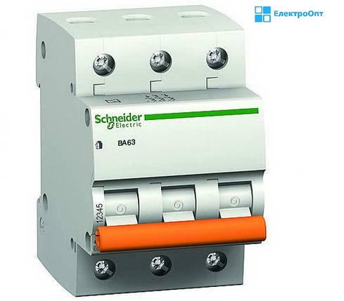 Автоматический выключатель ВА63 3П63C трехполюсный Schneider Домовой, фото 2