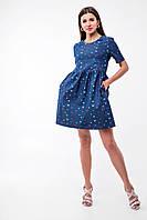 Джинсовое платье для для беременных и кормящих Lullababe Angelika Птички, фото 1