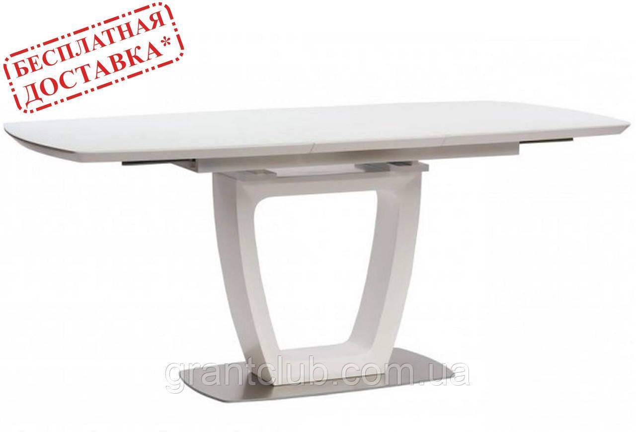 Обеденный раскладной стол RAVENNA MATT WHITE 140/180х85 белый матовое стекло Concepto (бесплатная доставка)