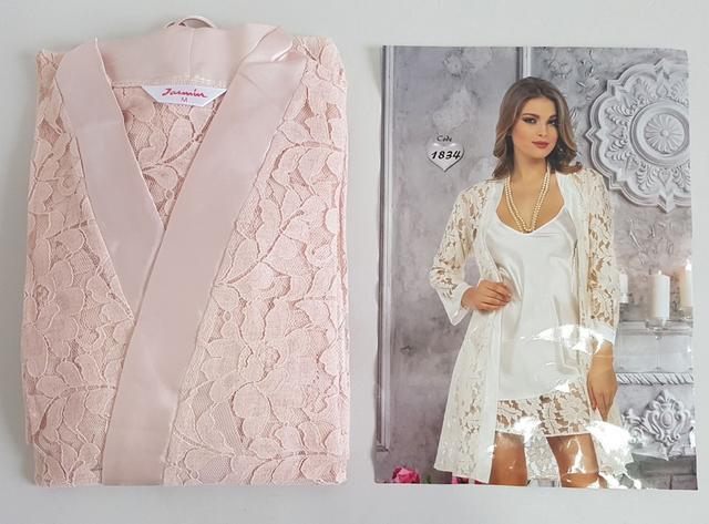 изображение женская атласная ночная рубашка с кружевным халатом