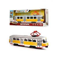Модель Трамвая9708-B, 28-10-6см, 1:54, звук (остановки) (рус), светятся фары, двери открываются, фото 1