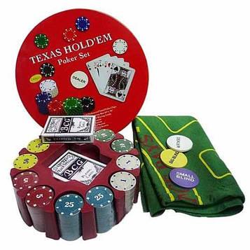 Покерный набор 240фишек с номиналом в круглой коробке,2 колоды карт
