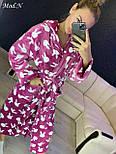 """Жіночий м'який довгий халат з поясом 'Зайчики"""", фото 5"""