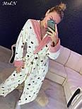 Жіночий м'який світлий довгий халат з поясом, фото 5