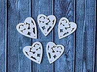 "Деревянный декор ""Сердце с сердечками внтури"", 5 х 4,5 см, 50 шт/уп., белого цвета"