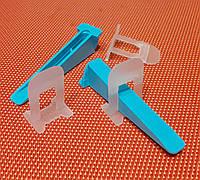 Система выравнивания плитки СВП LUX . 1 мм . Основа 250 шт , клин 100 шт