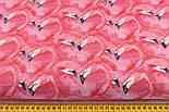 """Лоскут ткани """"Фламинго-сердечка"""" на пурпурном (№2210), размер 42*80 см, фото 2"""