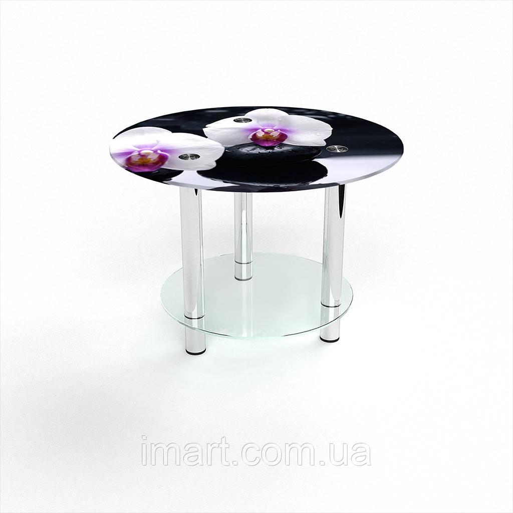 Журнальный стол круглый с полкой Relax стеклянный
