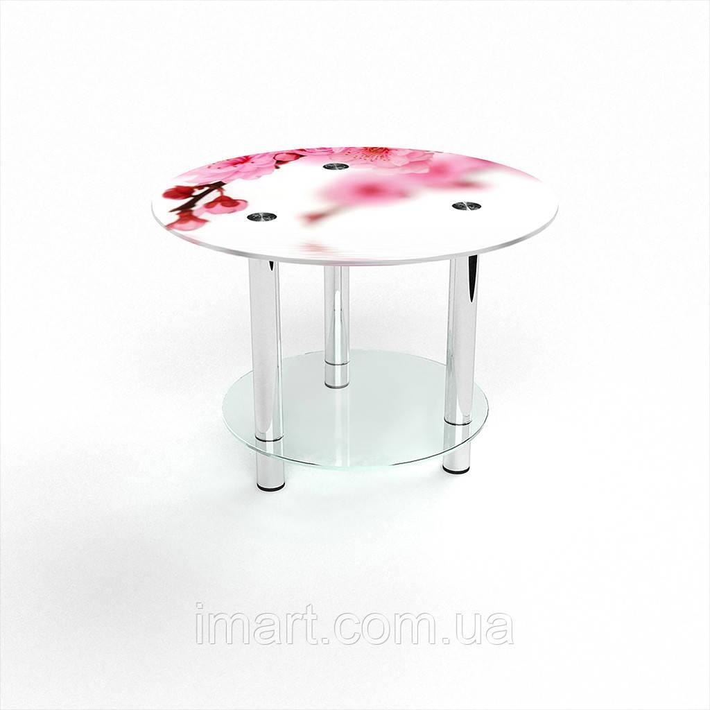 Журнальный стол круглый с полкой Sakura стеклянный
