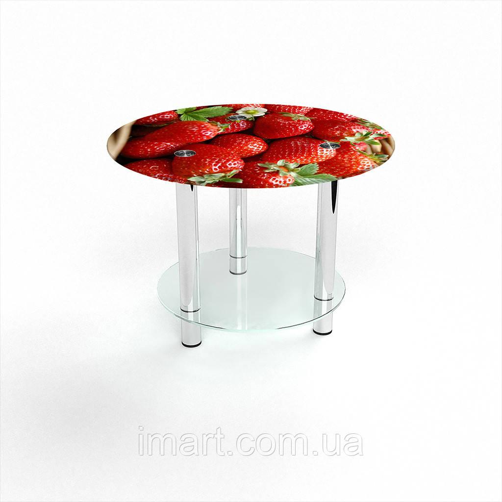 Журнальный стол круглый с полкой Strawberry стеклянный