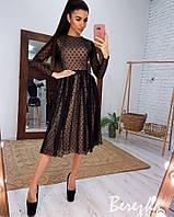 Коктейльное платье ниже колен с сеткой в горошек, фото 1