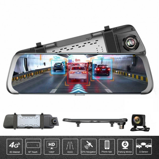 10' Видеорегистратор для автомобиля Junsun 4G ADAS на Android 5.1 с 15 МП камерой FHD 1080P WiFi Bluetooth GPS