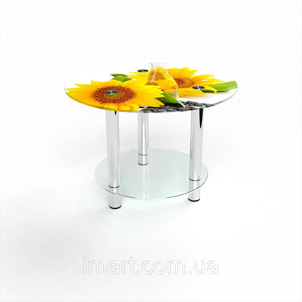 Журнальный стол круглый с полкой Sunflower стеклянный
