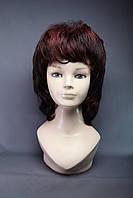 Парик женский из искусственных волос, стрижка каскад объемная, цвет черный с красным мелированием